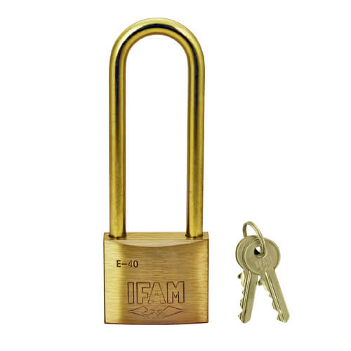Ifam E Series 40mm Brass Padlock with Brass Shackle