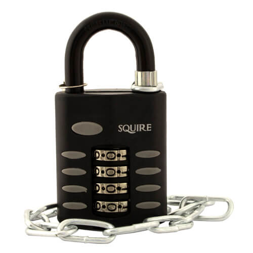 Squire CP50 Comb padlock open shackle 50mm with Chain